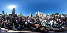 A 360 degree photograph of the Zuma Must Fall protests in front of the South African Parliament buildings in Cape Town. Click here to see the photo in 360 degrees.