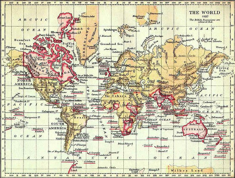 The British Empire in 1897. Pink - typical color designations British colonies on maps of the time.
