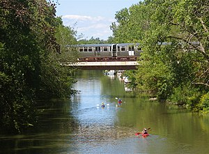 CTA Train and Kayakers on the North Branch, fr...