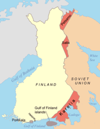 Areas ceded by Finland to the Soviet Union after the Winter War in 1940 and the Continuation War in 1944. Porkkala was returned to Finland in 1956.