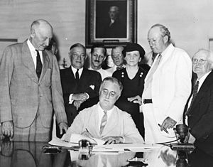 Roosevelt Signs The Social Security Act: Presi...