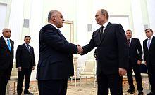 At meeting with Russian president Vladimir Putin.