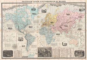 1859 Delamarche Case Map of the World - Geogra...