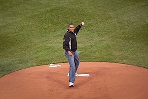 English: President Barack Obama throwing out t...