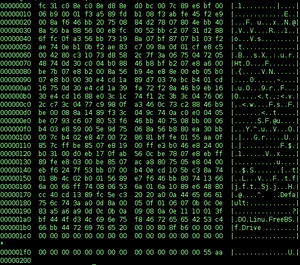 hex dump (with hd ) of boot0 MBR loader of Fre...