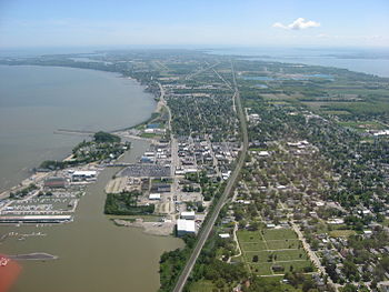 Downtown of Port Clinton, a port city and the ...