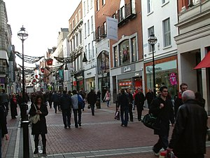 Mid-morning crowds on Grafton Street in Dublin...