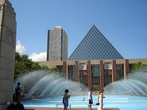 City Hall's main pyramid and fountain. To the ...