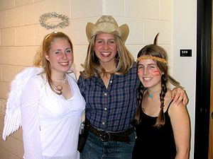 College students dressed up for Halloween.