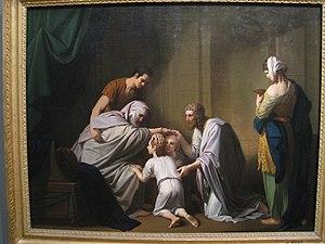 """English: """"Jacob Blessing Ephraim and Mana..."""