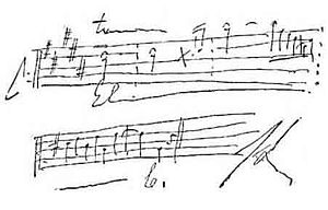 Handwritten music score from Franz Liszt