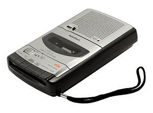 A RadioShack brand cassette recorder, with bui...
