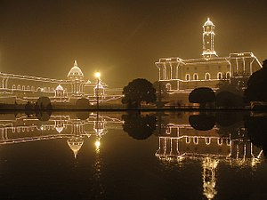 English: Rashtrapati Bhavan Illuminated on Rep...
