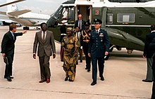 Prime Minister Robert Mugabe departs Andrews Air Force Base after a state visit to the United States in 1983