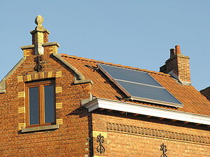Solar panel on roof in Mariakerke, Ghent, Belgium.