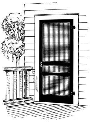 Line art of a door screen.