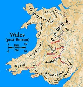 This map of Wales details medieval times