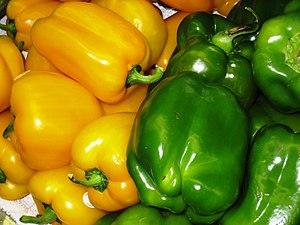 English: Yellow and green Bell peppers, North ...