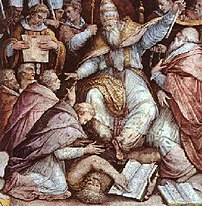 A depiction of Pope Gregory IX excommunicating