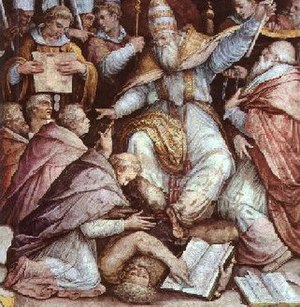 A depiction of Pope Gregory IX excommunicating.