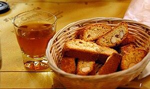 Vin Santo Italian dessert wine in a shot glass...