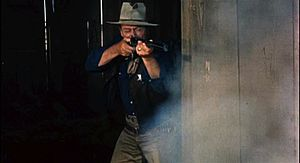 Cropped screenshot of John Wayne from the trai...