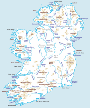 Physical features of Ireland.