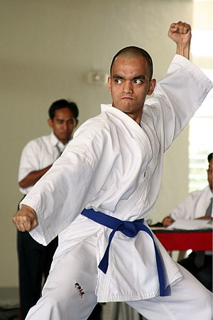 A karate student wearing a karategi