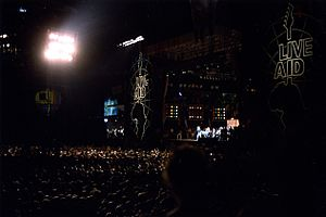Live Aid concert after dark at JFK Stadium, Ph...