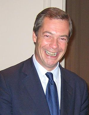 English: Nigel Farage at a conference in the G...