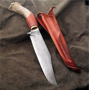 English: Damascus Steel, Stag handled Bowie by...