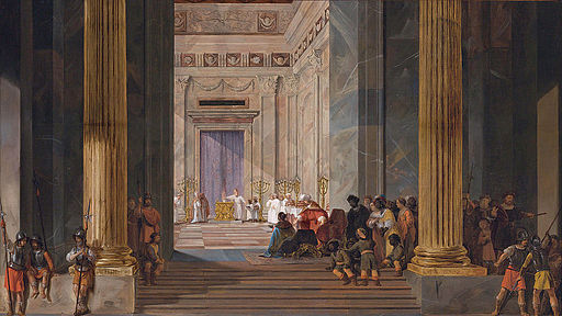 The Queen of Sheba before the temple of Solomon in Jerusalem, by Salomon de Bray (1597-1664)