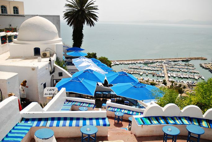 View of Sidi Bou Said port. Northern Tunisia, Mediterranean Sea, Northern Africa