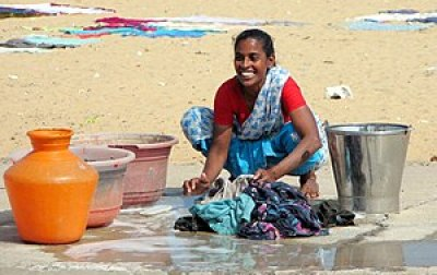 Woman doing laundry in Chennai, India