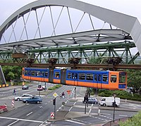 The Schwebebahn Wuppertal crossing an intersection