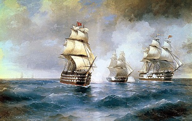 Brig Mercury Attacked by Two Turkish Ships by Ivan Aivazovsky