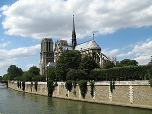 Cathedral of Notre Dame in Paris seen from sou...