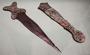 English: Cookham dagger and scabbard, British ...