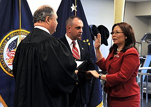 English: Tammy Duckworth is sworn in as assist...
