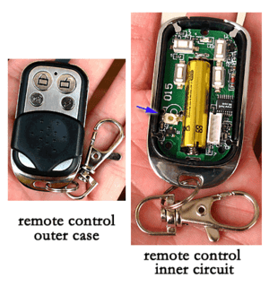 English: A remote control for an automatic gar...