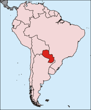 Map of South America, Paraguay highlighted
