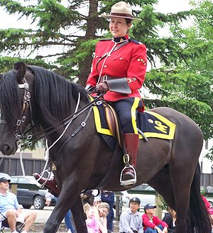 A female RCMP officer riding a horse at the 20...