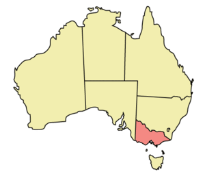 Map showing the Australian State of Victoria
