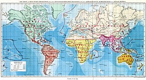 World map showing the zoogeographical regions ...