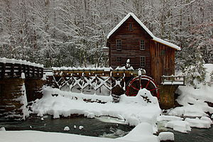 West Virginia Grist Mill in a Winter Snow Stor...