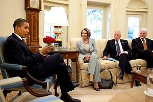 President Barack Obama meets with Speaker Nanc...
