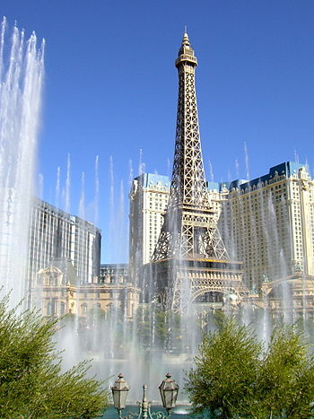 English: Las Vegas: Paris' Eiffel Tower as see...