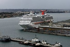Carnival Splendor moored at the 10th Ave terminal for repairs in San Diego, California