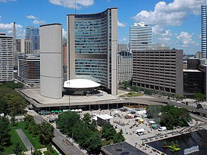 Toronto City Hall from Sheraton hotel room