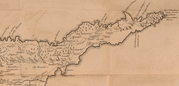 Ausschnitt aus der Zypernkarte, die Drummond in seiner 1754 publizierten Reisebeschreibung veröffentlichte (nach S. 192)